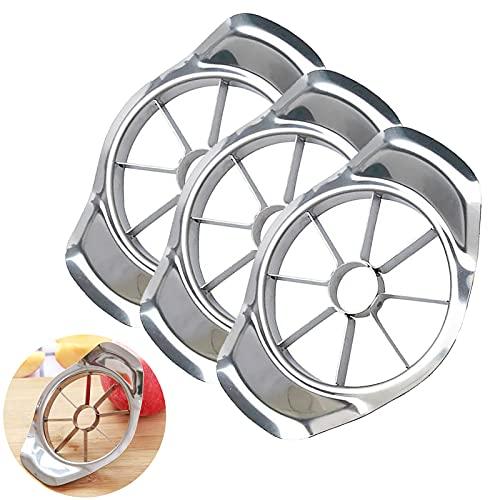 3 cortadores de manzana, cortador de manzana de 8 cuchillas de fácil agarre, descorazonador de manzanas extra grande, divisor de acero inoxidable para manzanas de hasta 10 cm...