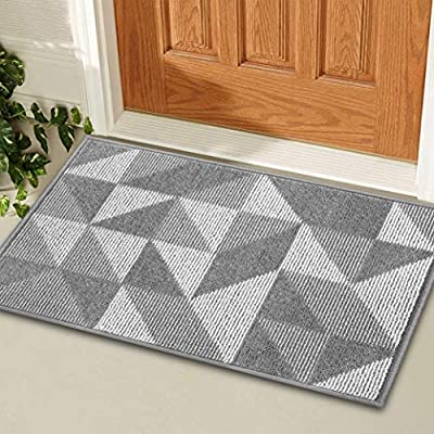 "KMAT Indoor Door Mat,Welcome Mats Inside Non-Slip Absorbent Floor Mats Doormat Rugs for Home,Machine Washable Entry Rug Entrance Mat,Paired w/Extra Anti-Slip Gripper Pad(20""x32"",Grey: Magic Geome)"