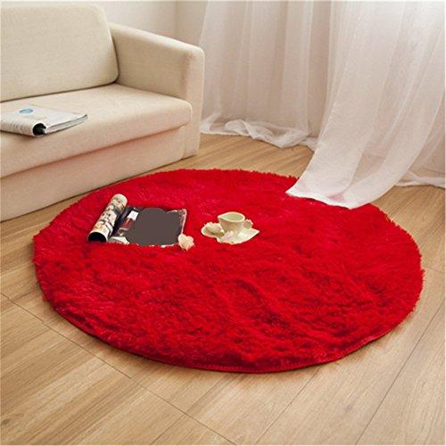 CAMAL Alfombras, Redonda Material de Lana de Seda Artificial Alfombras de Yoga para Sala de Estar Dormitorio y Baño (Rojo, 100cm)