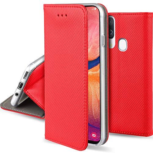 Moozy Hülle Flip Hülle für Samsung A20e, Rot - Dünne Magnetische Klapphülle Handyhülle mit Kartenfach & Standfunktion