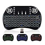 Wireless Mini Keyboard and touchpad Mouse 2.4GHz Backlit Universal Remote Controller for Gaming Rechargeable Li-ion Battery for Google Android TV Xbox, PS3, PC, Windows Roku iptv Gaming