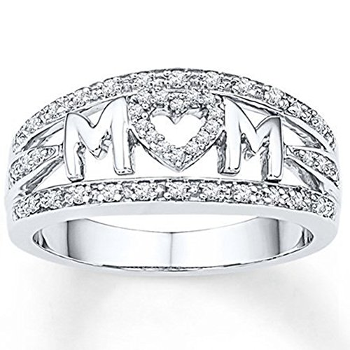 Jude Jewelers Rhodium Plated Mom's Ring Mother's Day Birthday Gift (Silver, 9)