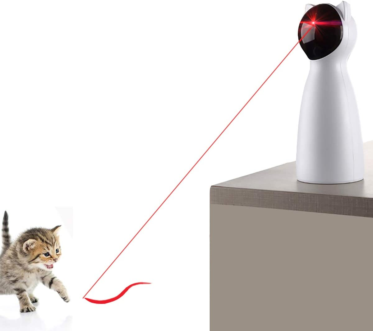 YVE LIFE Cat Laser Toy Automatic,Interactive Toy for Kitten/Dogs - USB Charging,Placing High,5 Random Pattern,Automatic On/Off and Silent (P01)