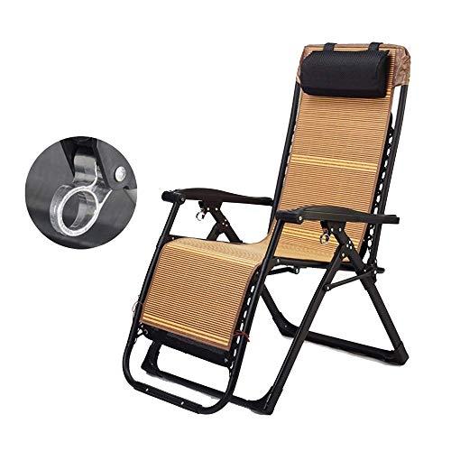 YLCJ Draagbare tuinstoel liggend zwaartekracht opvouwbare ligstoel nul eetkamerstoel draagbare strandstoel met bamboe mat