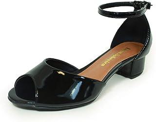 Sandália Salto Baixo Grosso Luiza Sobreira Verniz Preto Mod. 4015-2