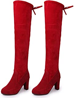 Fanville - Botas de tacón alto para mujer, antideslizantes, transpirables, para fiesta, de moda, tacón alto, hasta la rodilla