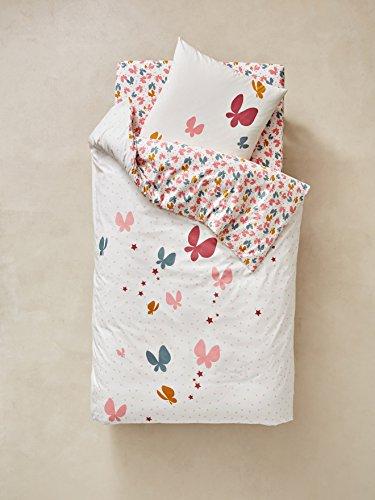 Vertbaudet Bettwäsche-Set für Kinder Schmetterlinge rosa Bedruckt 140X150 - Kissen 63X63