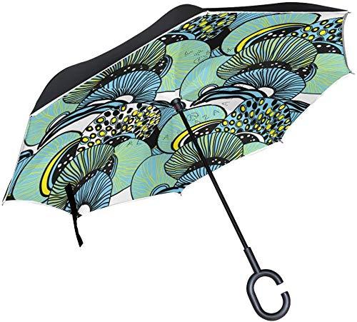 Vintage Quallen-Regenschirm mit C-förmigem Griff für Autos, Damen, Herren