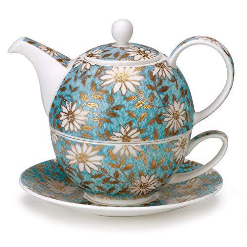 Dunoon - T41 NEW TEAL - Fine Bone China Teekanne / Teapot, Tasse und Untertasse Set