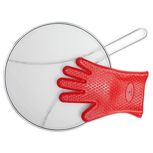 """Grease Splatter Guard for Frying Pan - 13"""" Heat Resistance Silicone Cooking Glove. High Density Stainless Steel Mesh. Perfect Splatter Guard for Cooking. Iron Skillet Lid. Protects your Kitchen"""