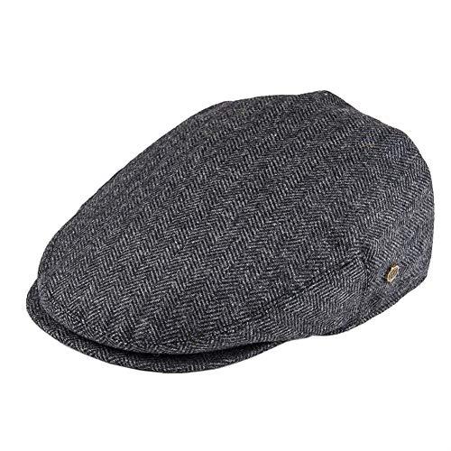 Tweed de lana de espiga irlandesa hombres del casquillo de la boina de las mujeres taxista conductor sombrero del golf Ivy plana gorras Negro Verde Amarillo 200 ( Color : Black , Hat Size : 58 59cm )