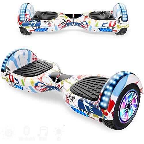 Magic Vida Skateboard Elettrico 8 Pollici Bluetooth con Due Barre LED Monopattini elettrici autobilanciati di buona qualità per Bambini e Adulti(Viola Cromo)