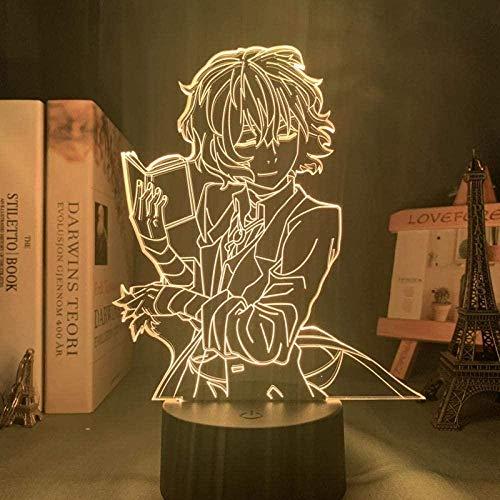 Tatapai 3D Night Light Illusion Led Décor Lampes Lumières USB Bungo Stray Dogs Osamu Dazai Lampe pour Chambre Décor Ami Cadeau D'anniversaire Gadget Nakahara Chuya Veilleuse Anime Néon Lumière Dazai