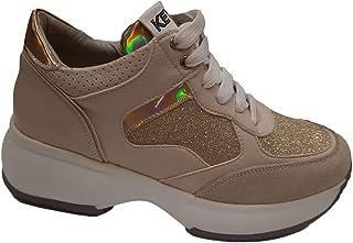 Keys Scarpe Donna Sneakers in Pelle Oro con Glitter 901-GOLD