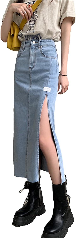 IKIIO Women's Casual Slim-Fit Split Hem Denim Skirt High Waisted A Line Skirts with Pockets