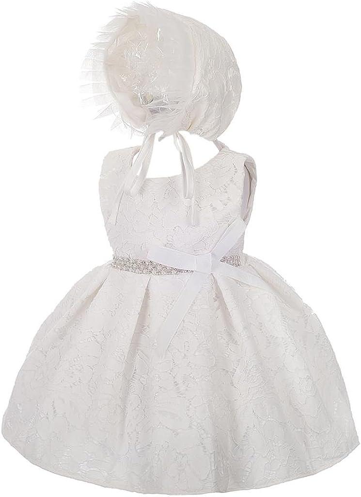 Lito Angels Vestido de bautizo para niña con encaje de diamantes y diseño de flores para bautizo, color marfil