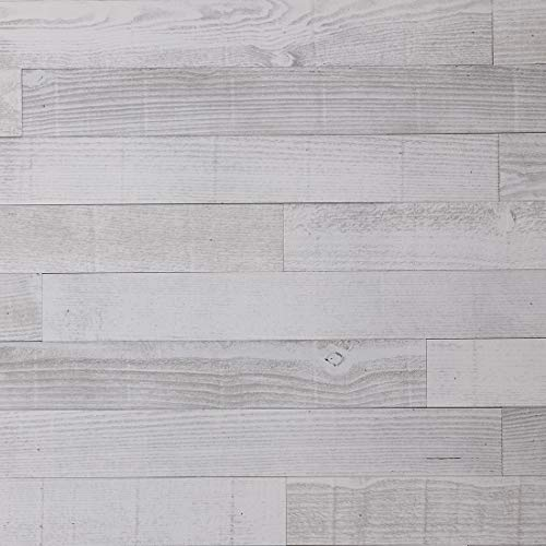 Timberwall - Barnwood Collection - Seashore White - Wood Wall Panel - Solid Wood Planks - Easy Peel and Stick Application - 9.5 Sq Ft