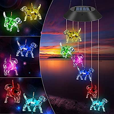 Sagekia Solar LED Wind Chimes, Outdoor Mobile Colors Changing LED Solar Powered Waterproof Labrador Lights Wind Chime, Patio Yard Garden Home Decor (Labrador)