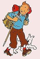 タンタンの冒険コミックヴィンテージポスタークラシックウォールステッカーウォールアートのために保育園の子供のベッドルームをペイント (Color : Burgundy, Size (Inch) : Canvas 50x70cm)