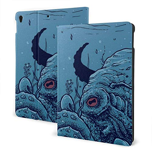 Nautical Style Marine Case for IPad Air 3rd Gen 10.5' 2019 / IPad Pro 10.5' 2017 Multi-Angle Folio Stand Auto Sleep/Wake for IPad 10.5 Inch Tablet-Octopus Underwater Artwork Blue-One Size