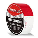 WAENLIR 2 inch x160Feet Reflective Safety Tape DOT-C2 Waterproof Red and White Adhesive Conspicuity Tape for Trailer, Outdoor, Cars, Trucks