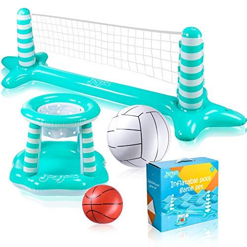 Joyjoz – Juego de flotador inflable para piscina, voleibol, voleibol, aro de baloncesto y bola, piscina flotante juguete piscina juegos piscina accesorios para niños y adultos