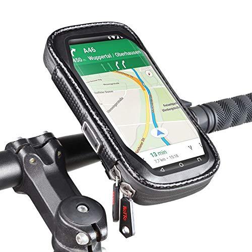 ROTTO Soporte Movil Bici Bolsa Manillar Bicicleta Impermeable con 360° Rotation (Negro, L)
