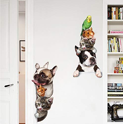 Animales de dibujos animados 3D Etiqueta de la pared Gatos Perros Ratones Pájaros Pegatinas de puerta Decoración divertida para el hogar Decoración de la habitación de los niños Fondos de vinilo