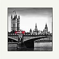 """キャンバスの風景写真アートポスターキャンバスアート橋の上の赤いバス現代アートワークホームオフィスの装飾のための額縁の壁の装飾,B,23.6""""x23.6"""""""