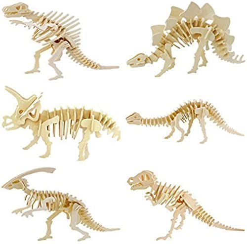 WISDOMTOY 3D Wooden Simulation Animal Dinosaur Assembly Puzzle Model Toy for Kids and Adults,6-piece Set by WISDOMTOY