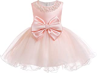 TUOKE Infant Baby Girl Formal Bridesmaid Birthday Ball Gown Sleeveless Ruffles Dress Pink 6M