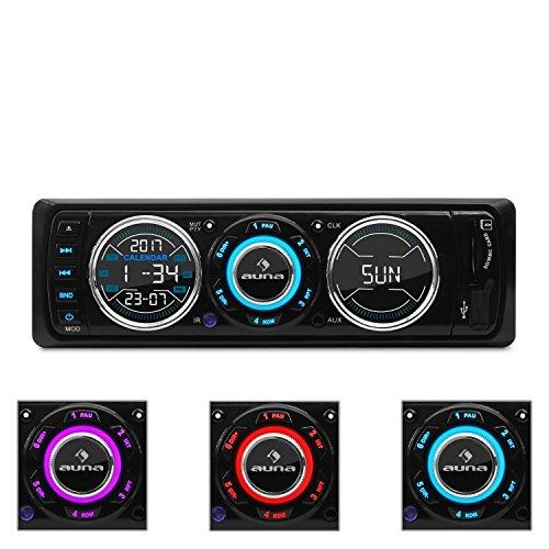 auna MD-180-BT - Autoradio, Car-Radio, USB- / SD-Port, UKW-Radiotuner, MP3, AUX-Eingang, 2 x Line-Ausgang, Freisprechanlage, weiß