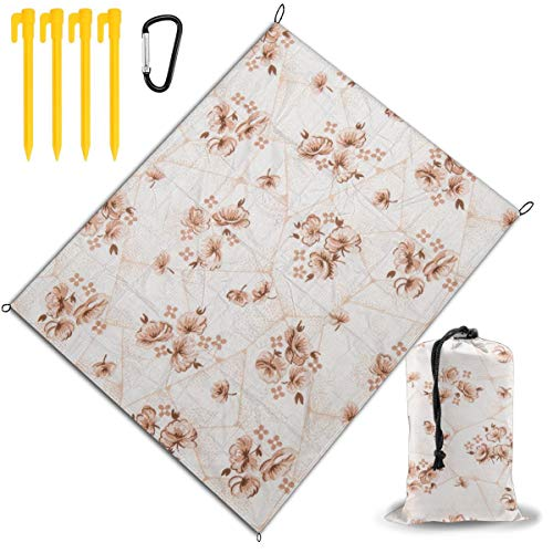 Cheapest Price! Outdoor Picnic Blanket 67x57inch Red Flowers are Printed On Tiles Foldable Waterproo...