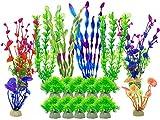 AIVORIUY Plantas Artificiales Acuario, 18 Piezas Plantas Verdes de Acuario, Planta de Plástico Grandes Planta de Simulación Pecera Decoración de Acuario Paisaje