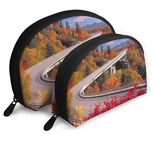 XCNGG Bolsa de almacenamiento Highway Landscape Art Pattern Bolso de maquillaje de viaje portátil Impermeable Organizador de artículos de tocador Bolsas de almacenamiento