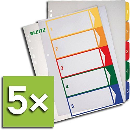 Leitz Register 1291 PC-beschriftbar für DIN A4, farbig/transparent 1-5 (5 Register)