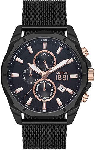 Cerruti 1881 Herren-Armbanduhr, Stahl, Schwarz
