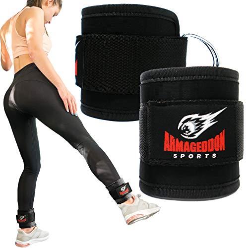 ARMAGEDDON SPORTS Fußschlaufen für Kabelzug Fitness Training Frauen und Männer Knochelriemen fur Kabelmaschinen - Verbesserung fur Bauchmuskeln, Gesäßmuskeln und Beintraining (Schwarz)
