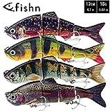 FISHN Bait Candy Set, Longitud: 12/15 cm, Peso: 18/35 Gramos, Señuelos Artificiales Swimbait/Señuelos de Pesca/Wobblers para la Pesca de Peces Depredadores como el Lucio, la Trucha (4X)