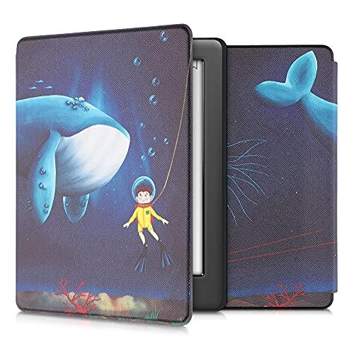 kwmobile Custodia Compatibile con Kobo GLO HD/Touch 2.0 - Cover in Simil Pelle Magnetica Flip Case Custodia per eReader Giallo/Marrone/Blu Scuro