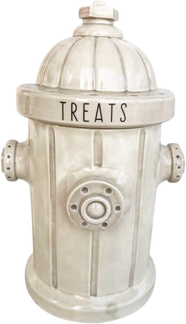 Blue Sky Ceramic Fire Hydrant Treat Jar, White