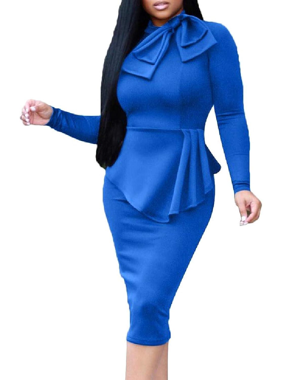 GodeyesW 女性キャリアロングスリーブブラウスシャツミディスカート2ピースセット