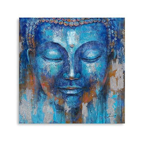 B BLINGBLING Buddha Head Wall Decor: Indigo Blue Buddha Giclee Prints on Canvas Decorations for Living Room Office Wall Decor Buddha Wall Art Easy Hanging with Frame (24'x24'x1 Panel)