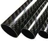 (1) Carbon Fiber Tube - 18mm x 20mm x 1000mm - 3K Roll Wrapped 100% Carbon Fiber Tube Glossy Surface...