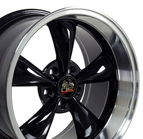 OE Wheels LLC 17 Inch Fits Ford Mustang 1994-2004 Bullitt Style FR01 Black with Machined Lip 17x10.5 Rim Hollander 3448