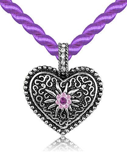 Kordel Halskette Mina mit Herz und Strass - Lila