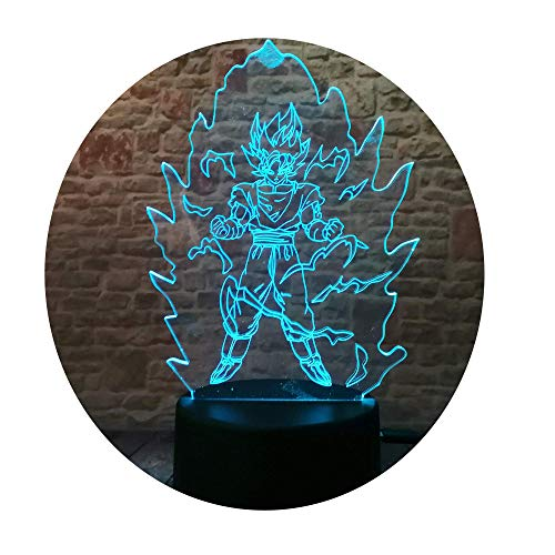 Fanrui Dragon Ball Z Super Saiyan God Goku Action Figures 3D Table Lamp 7 Color Auto Changing AA...