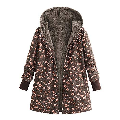 Dorical Damen Winter Warm Kapuzen Outwear Lässige Mode Vintage Print Übergroß Lange Ärmel Haspe Gemütlich Mantel
