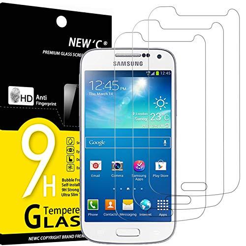 NEW'C 3 Stück, Schutzfolie Panzerglas für Samsung Galaxy S4 Mini, Frei von Kratzern, 9H Festigkeit, HD Bildschirmschutzfolie, 0.33mm Ultra-klar, Ultrawiderstandsfähig