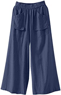 Hivot Women Bermuda Hot Shorts Loose Wide Leg Elastic Waist Shorts Pants Culottes Lounge Shorts Beach Shorts Jeans